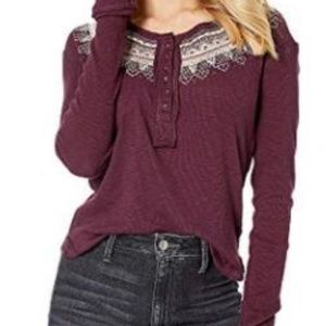 New Free People Fair Isle Henley Thermal Top Shirt